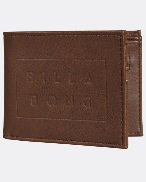 BILLABONG MENS WALLET.DIE CUT FAUX LEATHER BROWN CARD COIN NOTE PURSE 8S 02 591